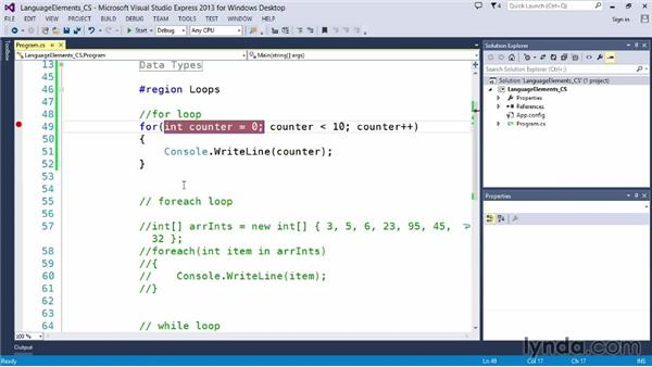 Working with for loops: Up and Running with C#