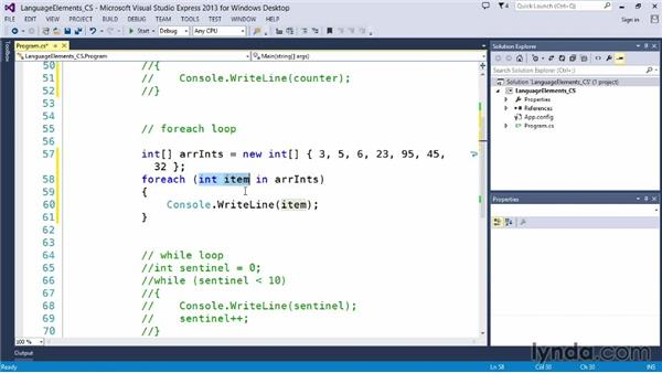 Building foreach loops: Up and Running with C#