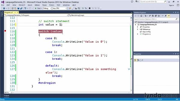 Controlling program flow with switch: Up and Running with C#