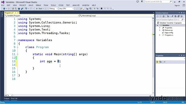 Using variables: Up and Running with C#