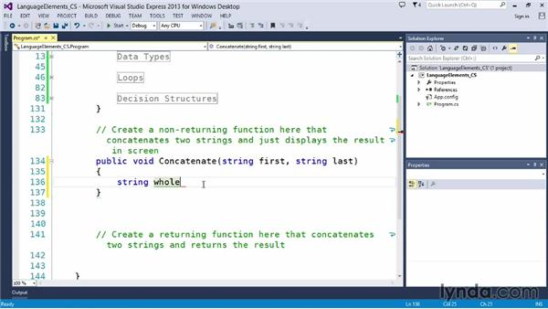 Building functions that don't return a value: Up and Running with C#