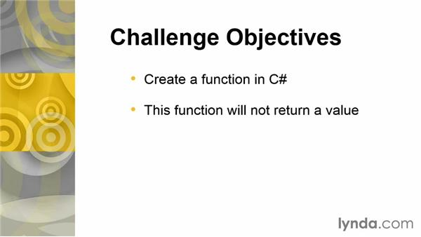 Challenge: Add two numbers with a function: Up and Running with C#