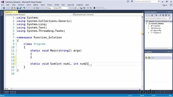 Solution: Add two numbers with a function: Up and Running with C#