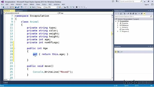 Introducing encapsulation: Up and Running with C#