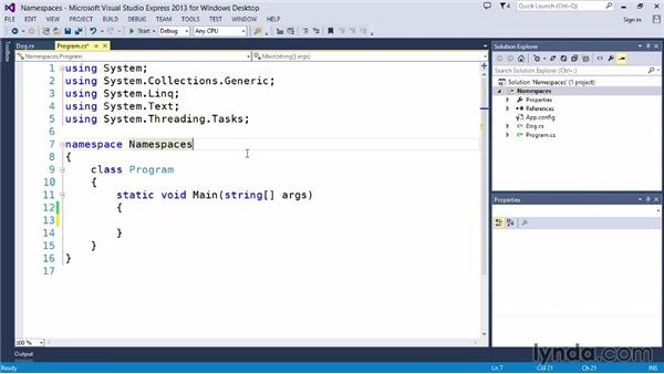 Using namespaces: Up and Running with C#
