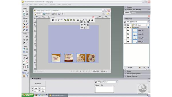 Aligning and distributing objects: Fireworks 8 Essential Training