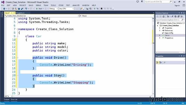 Solution: Create and instantiate a class: Up and Running with C#