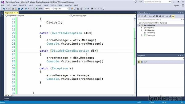 Understanding exception flow: Up and Running with C#
