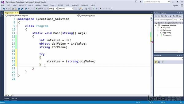 Solution: Handle an error: Up and Running with C#