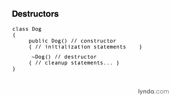 Using destructors: Up and Running with C#