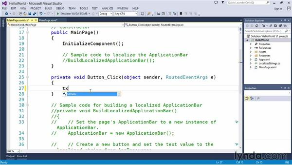 Exploring a Windows Phone application: Up and Running with C#