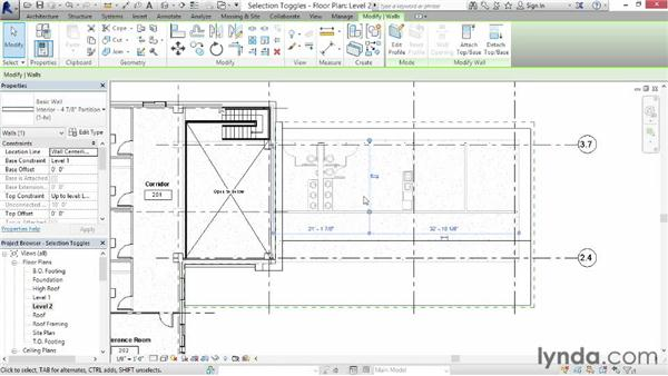 Understanding selection toggles: Revit Architecture 2015 Essential Training