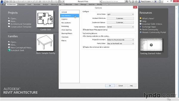 Accessing Revit options: Revit Architecture 2015 Essential Training