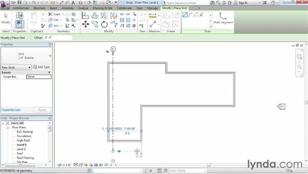 Adding grids: Revit Architecture 2015 Essential Training