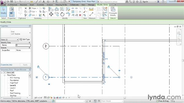 Refining a layout with temporary dimensions: Revit Architecture 2015 Essential Training