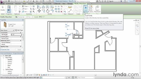 Adding doors and windows: Revit Architecture 2015 Essential Training