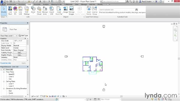 Linking AutoCAD DWG files: Revit Architecture 2015 Essential Training