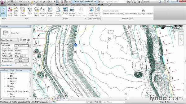 Creating topography from a DWG link: Revit Architecture 2015 Essential Training