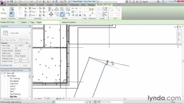 Rotating and aligning a Revit link: Revit Architecture 2015 Essential Training