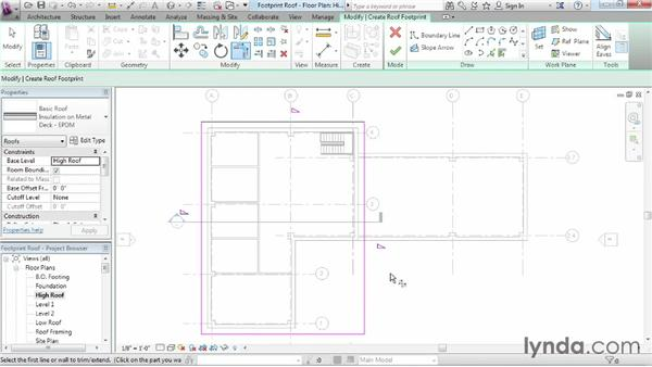 Working with footprint roofs: Revit Architecture 2015 Essential Training