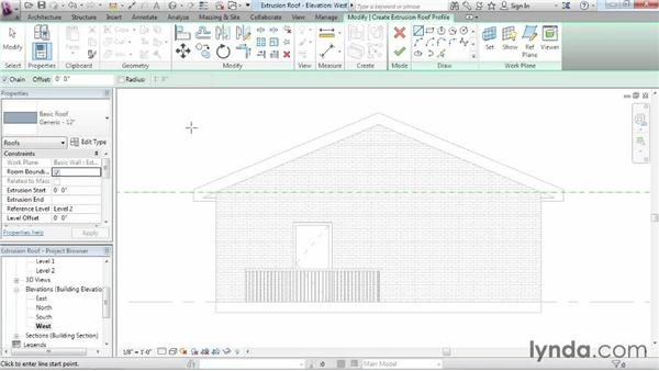 Working with extrusion roofs: Revit Architecture 2015 Essential Training