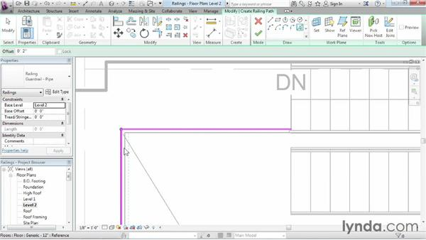 Adding railings to stairs: Revit Architecture 2015 Essential Training