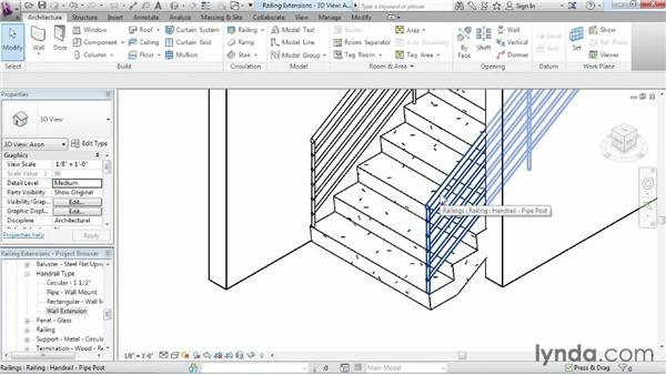 Adding extensions to railings: Revit Architecture 2015 Essential Training
