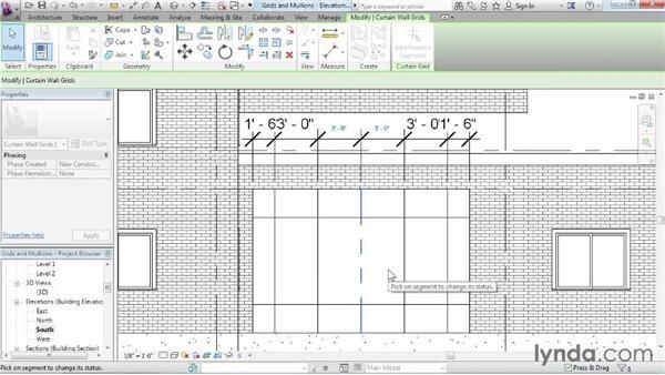 Adding curtain grids, mullions, and panels: Revit Architecture 2015 Essential Training