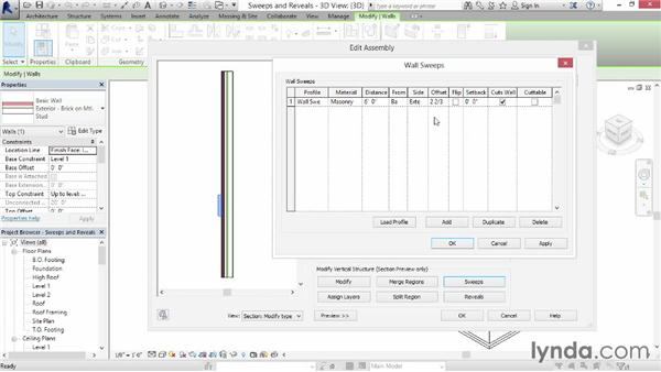 Creating wall sweeps and reveals: Revit Architecture 2015 Essential Training