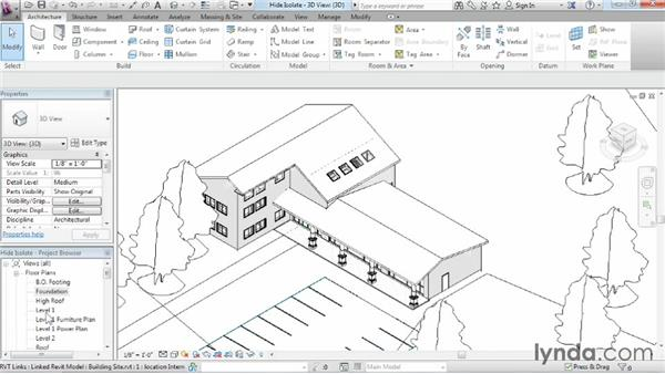 Hiding and isolating objects in a model: Revit Architecture 2015 Essential Training