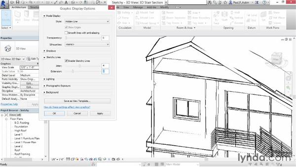 Using sketchy lines: Revit Architecture 2015 Essential Training