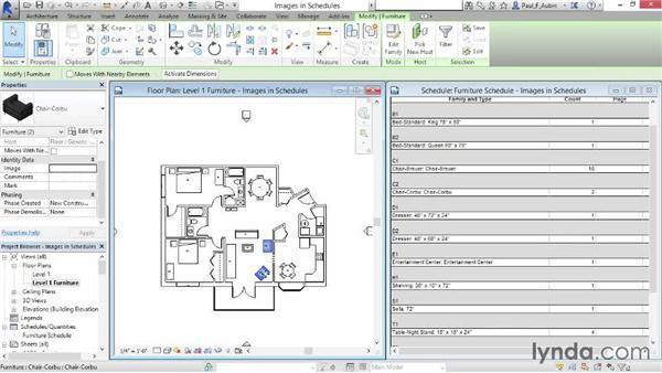 Using images in schedules: Revit Architecture 2015 Essential Training