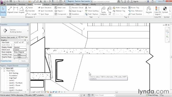 Adding filled and masking regions: Revit Architecture 2015 Essential Training
