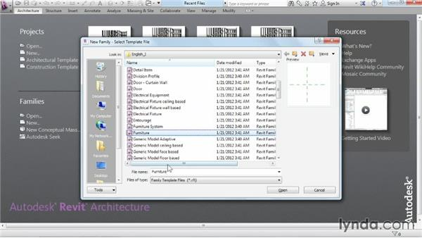 Creating a new family from a template: Revit Architecture 2015 Essential Training