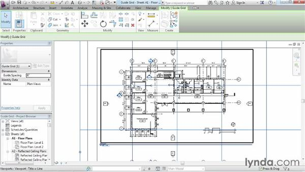 Aligning views with a guide grid: Revit Architecture 2015 Essential Training