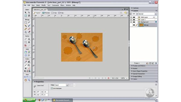 More about selecting pixels: Fireworks 8 Essential Training