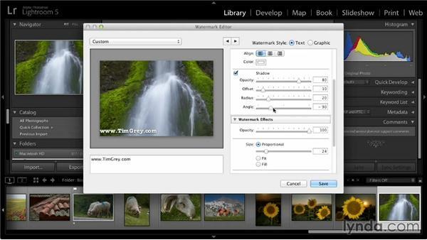 Creating a watermark: Lightroom 5: 03 Basics of Image Sharing