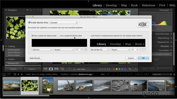 Creating an identity plate: Lightroom 5: 03 Basics of Image Sharing