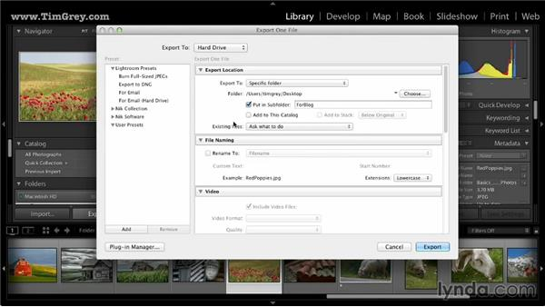 Creating an export preset: Lightroom 5: 03 Basics of Image Sharing