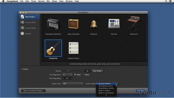 Starting from scratch in a new project: Songwriting in GarageBand