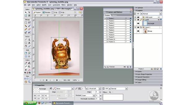 Importing photos as animations: Fireworks 8 Essential Training