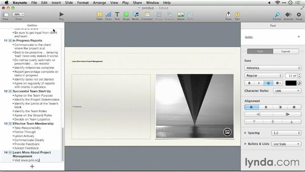 Converting the outline into an initial slide deck: Keynote 6: From Outline to Presentation