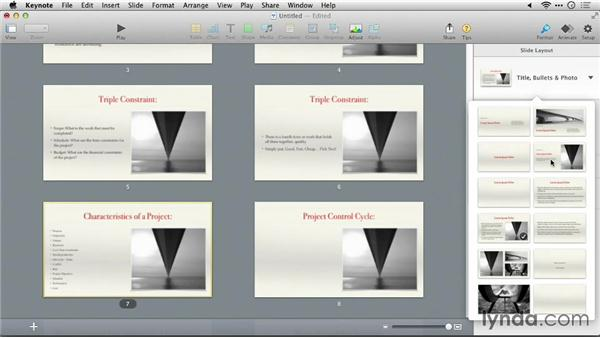 Changing the format of slides: Keynote 6: From Outline to Presentation