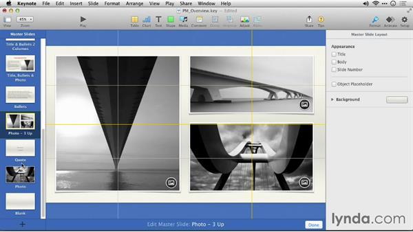 Adjusting the layout of a slide master: Keynote 6: From Outline to Presentation