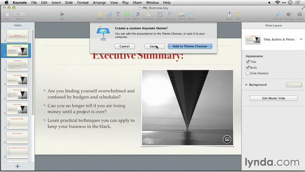 Tips on changing themes: Keynote 6: From Outline to Presentation