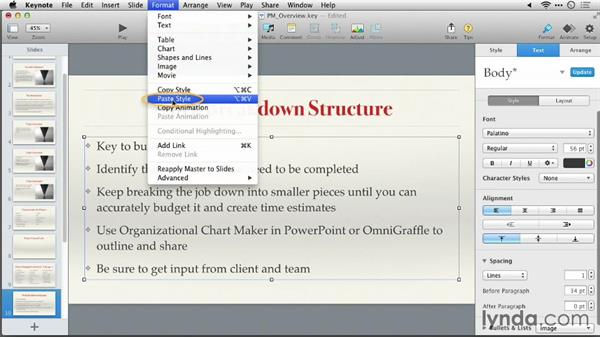Formatting text with the format bar: Keynote 6: From Outline to Presentation