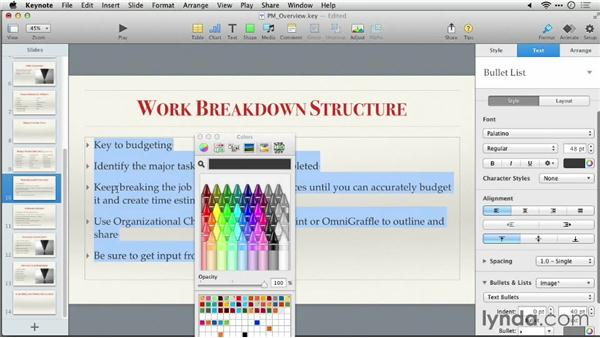 Formatting text with styles: Keynote 6: From Outline to Presentation