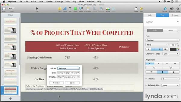 Adding a text block and a link: Keynote 6: From Outline to Presentation