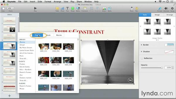 Adding a photo to a drop zone: Keynote 6: From Outline to Presentation
