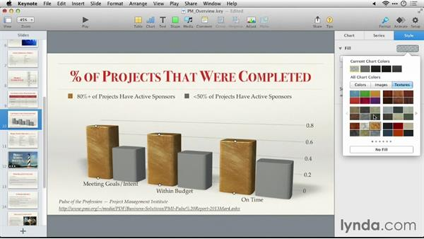 Modifying a chart's appearance: Keynote 6: From Outline to Presentation